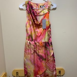 Jennifer Lopez Dress Water Color Gold Hardware NWT